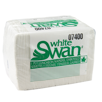 Napkins Luncheon 1 Ply 07400 1/4 11x13 Fold White Swan 250/pk