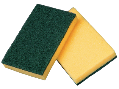 Sponge with scour pad green/yellow