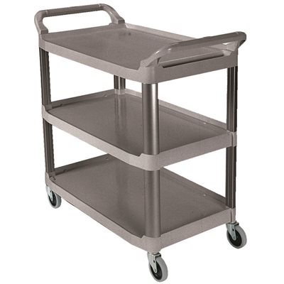 Rubbermaid Utility Cart 3 Shelf Open Sided Gray 200lb
