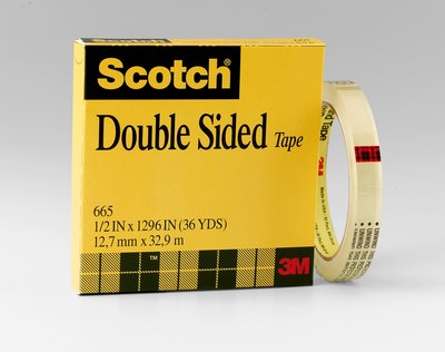 "Tape 3M Scotch Double Coated 665 12mm x 33m 72/cs 3"" Core"