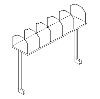 """Cartoning Rack with T-Uprights 63-3/4x16-1/2x44"""" w/6 wire dividers D-9031"""