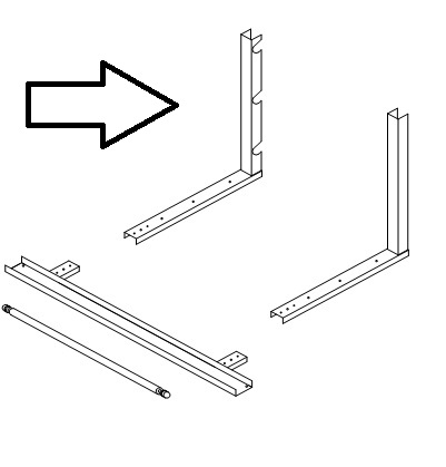 """Upright For Table Stand Cutters 24""""high  TSU-24 2/pk"""
