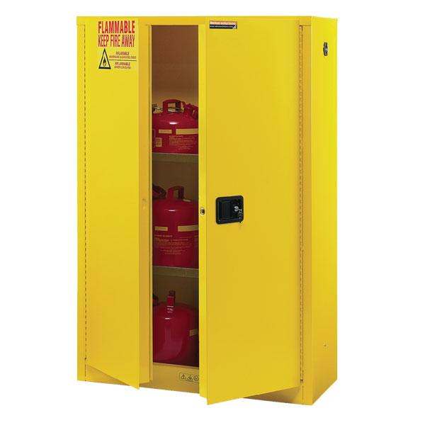 Flammable Liquids Double Wall Safety Cabinet 43x18x45-3/8 Self-Close Door Yellow