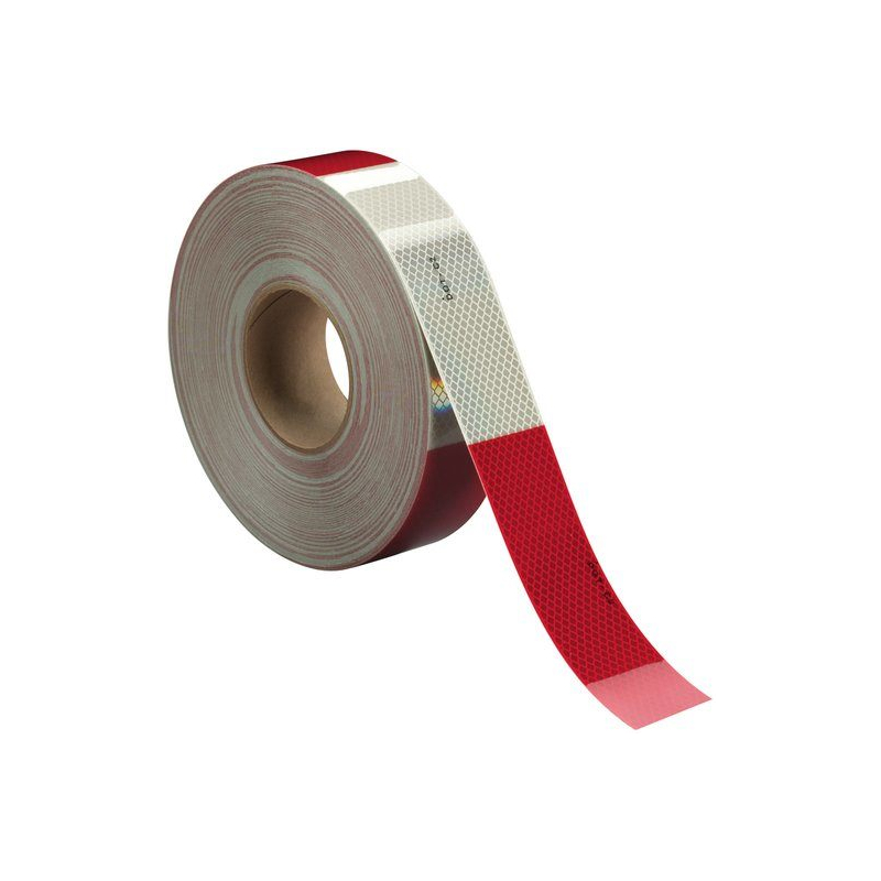 """Conspicuity Marking Tape 3M 2"""" x 150' Diamond Grade Red / White 983-32"""