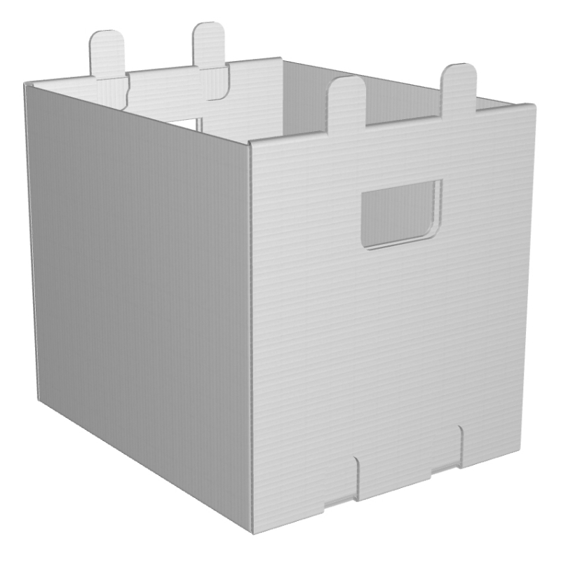 Storage Tote 14x11-3/4x12-3/4 Stackable White Plastic Corrugated