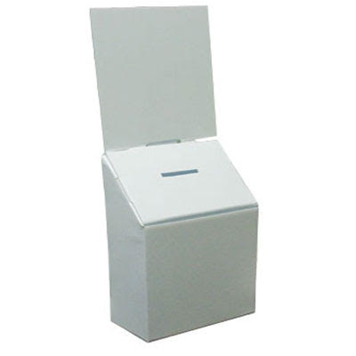 Ballot Box Plastic Corrugated 10x7x13 White w/ header card