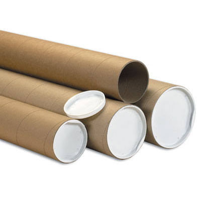 Mailing Tubes 3x18 Kraft 24/cs With White Plugs